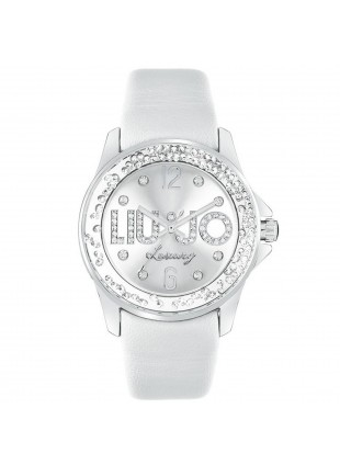 OROLOGIO DA PER DONNA LIU JO LUXURY DANCING SWAROVSKI IN PELLE BIANCO NEW TLJ218