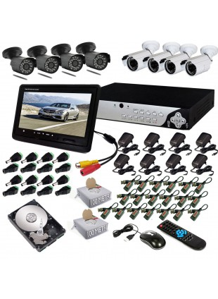 KIT DVR 8 TELECAMERA 600 TVL VIDEOSORVEGLIANZA LAN HD 500GB BALUN IPHONE ANDROID
