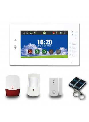 ANTIFURTO ALLARME TOUCH SCREEN CASA KIT COMBINATORE GSM WIRELESS PIR SENZA FILI